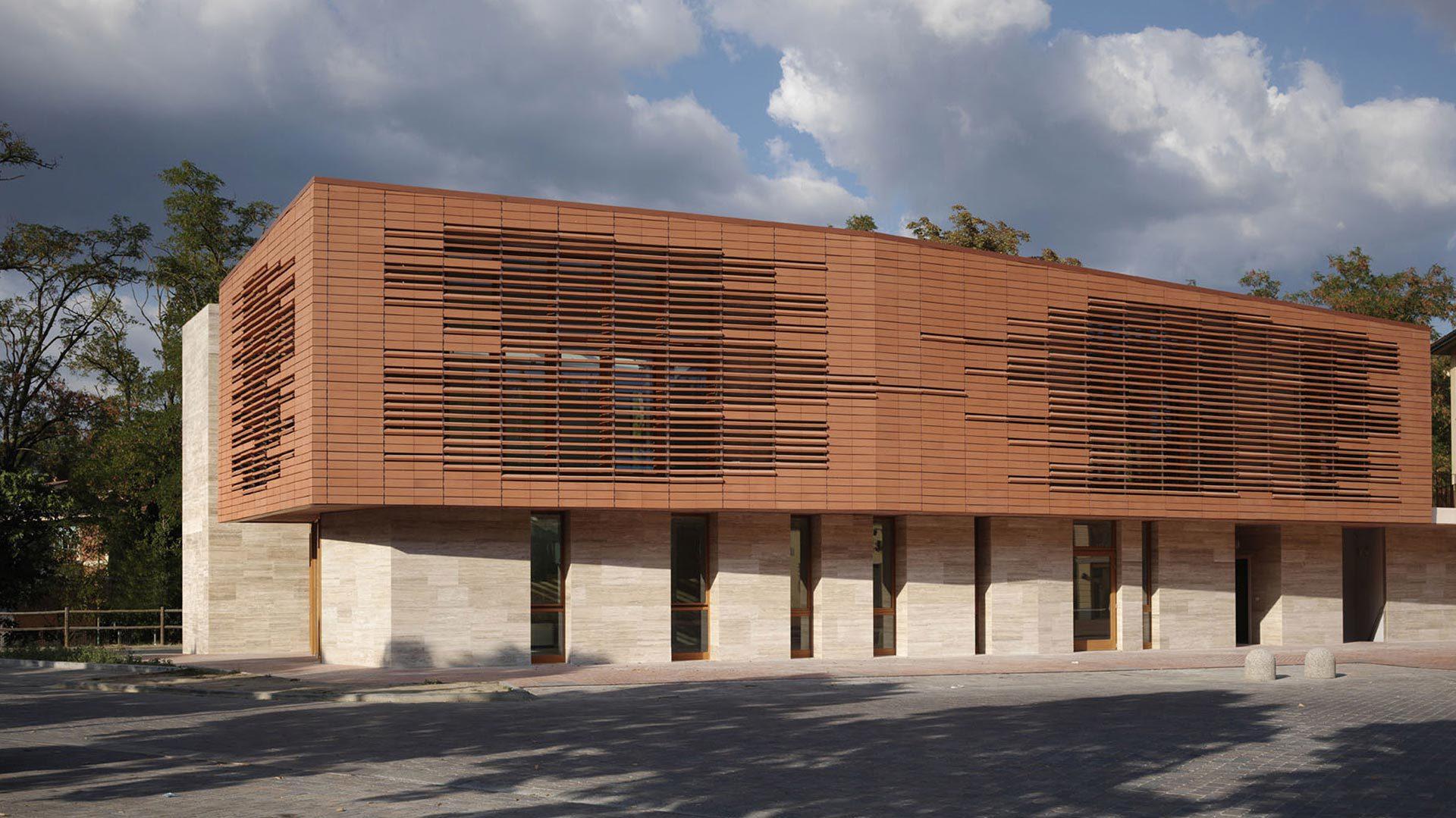 Facciate Ventilate In Cotto Biblioteca Greve In Chianti
